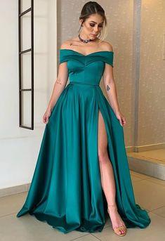 Prom Dresses With Pockets, A Line Prom Dresses, Grad Dresses, Dressy Dresses, Satin Dresses, Strapless Dress Formal, Vestidos Color Verde Esmeralda, Farewell Dresses, Slit Wedding Dress