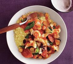 Easy Meatless Monday Recipe - Cauliflower and Chickpea Stew with Couscous