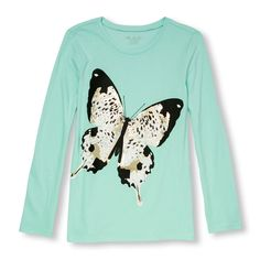 Girls Long Sleeve Leopard Print Butterfly Graphic Tee