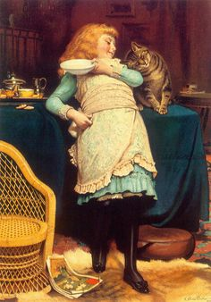 """""""Coaxing Is Better Than Teasing"""" by Charles Burton Barber (1845 – 1894, English)"""