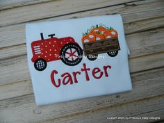 Boys Tractor Pumpkin Shirt Halloween Pumpkin Patch Shirt Applique Monogram Name on Etsy, $21.00
