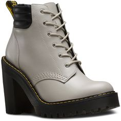 Dr. Martens Leather Persephone Heeled Boots ($96) ❤ liked on Polyvore featuring shoes, boots, grey, leather boots, leather hiking boots, platform heel boots, high heel platform boots and heeled boots