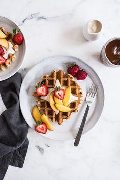 Vegan Vanilla Waffles with Vanilla Maple Cashew Cream - simple, healthy gluten free breakfast idea!   Edible Perspective