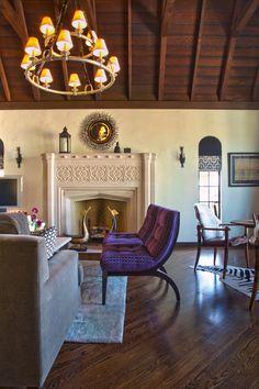 My Houzz: Boho Flair for a California Tudor Eclectic Living Room, Eclectic Decor, Living Room Designs, Houzz, Jewel Tone Decor, Stone Mantel, Tudor Style Homes, Interior Design Photos, Gold Bedroom