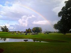 Rainbow on the course at Trump National Doral. At the end, you'll find a set of golden golf clubs.