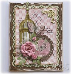 Love this card designed by Gabrielle Pollacco using the Primrose collection. Love how she used the Noteworthy pieces to create this. #BoBunny, #cards, @Gabrielle Pollacco