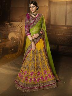 Buy Designer Sarees Designer Wedding Yellow Colour Heavy Embroidery Work Lehenga Choli Designer sarees collection | Sarees Online | Buy Designer Sarees Online at Best Price