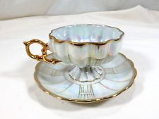 ROYAL SEALY CHINA WHITE IRIDESCENT LUSTER QUILTED FOOTED TEA CUP & SAUCER SET