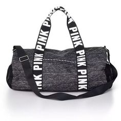 Victoria's Secret PINK  Duffle Bag Gym Overnight Luggage Suitcase Black Marl…
