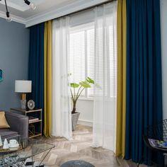 Zebra Living Room, Blue Curtains Living Room, Blue And White Curtains, Navy Blue Living Room, New Living Room, Curtain Ideas For Living Room, Yellow Curtains, Blue And Mustard Living Room, Room Darkening