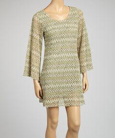 Loving this Beige Zigzag Bell-Sleeve Dress - Women on #zulily! #zulilyfinds