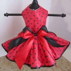 Red With Black Polka Dots Dog Dress