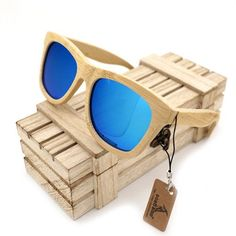 Destrial - Men's Bamboo Wood Polarized Square Sunglass