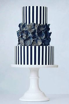 Black And White Wedding Cakes Ideas ❤️ See more: www.weddingforwar… Black And White Wedding Cakes Ideas ❤️ See more: Black White Cakes, Black And White Wedding Cake, White Wedding Cakes, Unique Wedding Cakes, Wedding Cake Designs, Black And White Cupcakes, Black And White Leaves, Wedding Navy, Gorgeous Cakes
