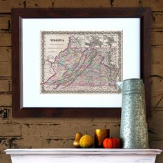 Antique Map of the State of Virginia ca 1855 by PortofPrints