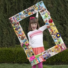 """Toys to art.  This is called and """"I spy toy frame"""" AWESOME!!"""