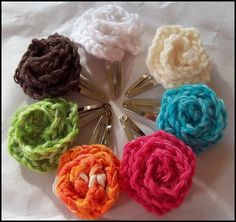 I sent an email to Mom to make some of these for her granddaughters ;) Crochet Hair Clips from yarn leftover