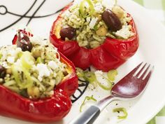 Pesto-stuffed with rice peppers with Chickpeas Recipe Image - All About Food