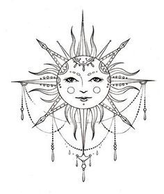 bohemian sun tattoo more tattoo ideas art tattoo obsession sun tattoos . Moon Sun Tattoo, Sun Tattoos, Bild Tattoos, Trendy Tattoos, Body Art Tattoos, Tatoos, Sun Moon, Mandala Sonne Tattoo, Tattoos Mandalas