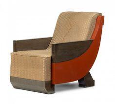 Marcel COARD - Fauteuil - placage de chêne, laque rouge - 1925-1928 - Provenance : Studio de Jacques Doucet - Arts décoratifs (ART DECO)