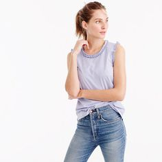 Shop J.Crew for the Tall ruffle-trim top in striped cotton poplin for Women. Find the best selection of Women Shirts & Tops available in-stores and online. Baby Girl Tops, Slim Fit Pants, Fashion 2017, J Crew, My Style, Cotton, Clothes, Outfits, Poplin Fabric