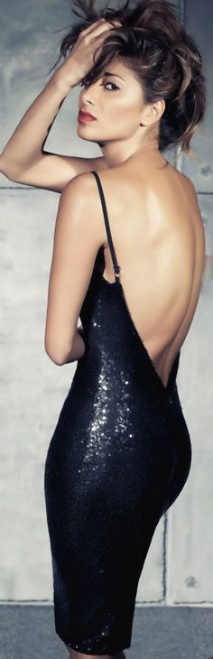 X-Factor judge Nicole Scherzinger rock a shimmery backless black sequin dress for missguided.com