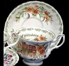 Royal Albert - Wiltshire  1994 to 2004  Cup Shape: Montrose  Series of 12: Cornwall, Cumbria, Devonshire, Hampshire, Kent, Norfolk, Oxfordshire, Staffordshire, Suffolk, Warwickshire, Wiltshire, Yorkshire