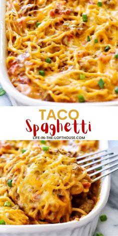 Taco Spaghetti, Spaghetti Recipes, Spaghetti Noodles, Spaghetti Casserole, Ww Recipes, Mexican Food Recipes, Cooking Recipes, Beef Casserole Recipes, Casserole Dishes