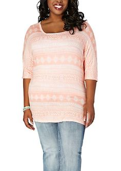 image of Plus Tribal Dolman Top
