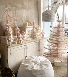 "It's a Pink Santa party, stop by our Santa Monica store this Saturday for a snap with the big ""pink"" guy from 📸 by Shabby Chic Christmas, Pink Christmas, Christmas Angels, Vintage Christmas, Xmas, Shabby Chic Interiors, Shabby Chic Homes, Shabby Chic Pink, Shabby Chic Style"