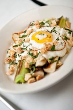 Braised leeks with mozzarella and a fried egg. Perfect for Mother's Day brunch!
