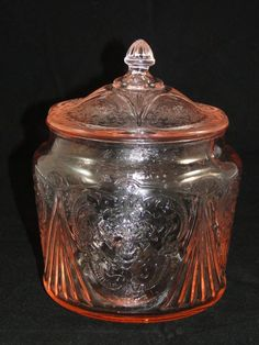 HAZEL ATLAS PINK DEPRESSION BISCUIT JAR ROYAL LACE WITH LID GLASS COOKIE CANDY