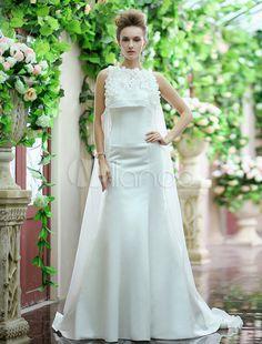 White Mermaid Sweetheart Backless Flower Sweep Organza Wedding Dress - Milanoo.com