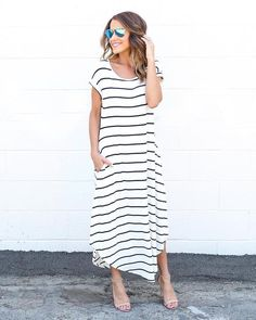 7fbda5076ee Seize the day in our Live For It Maxi Dress! This amazing must-have dress  is a simple t-shirt style silhouette with a white base and horizontal black  ...