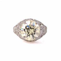 Antique 4.64ct European Diamond Platinum Filigree Engagement Ring 5.4 Grams Item # cinc-1