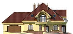 Dzierlatka III - elewacja frontowa Modern Bungalow House, Modern House Design, House Plans, Floor Plans, Cabin, How To Plan, Mansions, House Styles, Home Decor