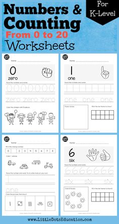 Download numbers and counting worksheets from 0 to 20 suitable for preschool or kindergarten class. Practice to trace and write numerals, count one - to - one correspondence using ten frames, dots, tally marks and fingers.
