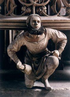 Adam Kraft, self-portrait, stone carving on the shrine of the Sacrament, St Lorenz, Nuremberg Medieval, Sculptures, Lion Sculpture, Stone Carving, Wood Carving, Kirchen, Middle Ages, Art History, Renaissance