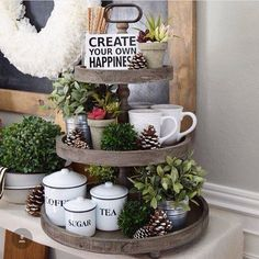 Wooden 3-Tier Tray. Cute for on top buffet, change with the seasons. Love the small pots and plants .