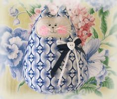 Cat  Doll 6 inch Free Standing Kitty Navy Cotton by CharlotteStyle, $15.50