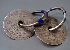 silver earrings with enamel rings Kashgar? China (private collection Linda Pastorino)
