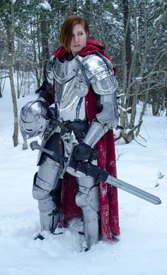 Steel plate armor, red cloak, and longsword. (The longsword is actually a prop version of Andruil, from Return of the King, but the armor itself is real.)