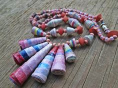 Upcycled recycled repurposed Mauve Paper necklace by EarthChildArt, $35.00