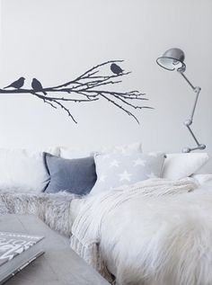 Fugl på grein Wallsticker/Veggord