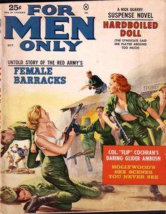 FOR MEN ONLY - Female Barracks   pulp cover war erotic vintage art