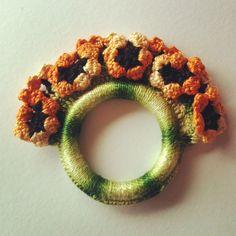 Retro Flower Crochet Napkin Rings Set of Three by JitterbugCraft