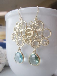 Something Blue?--Gold Circle Chandelier Earrings Acquamarine Faceted by gardendiva, $29.00