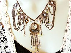 $125  Breathtaking draping chain necklace with Swarovski crystals. Wear this for your special occasion and stand out in the crowd!  Get this in my shop today!  RachelFlam Design