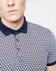 Spot print polo shirt - Navy | Tops & T-shirts | Ted Baker SEU