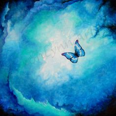Blue  Butterfly Painting   8 x 8 FREE SHIPPING  by SAXONLYNN, $40.00